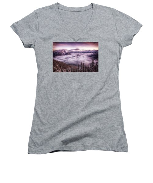 Sunrise Over The Canadian Rockies Women's V-Neck T-Shirt (Junior Cut) by Diane Dugas