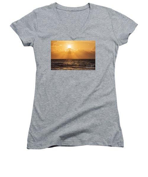 Sunrise Over The Caribbean Sea Women's V-Neck
