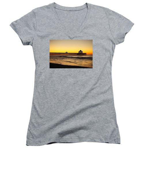 Sunrise Pier Folly Beach Sc Women's V-Neck (Athletic Fit)