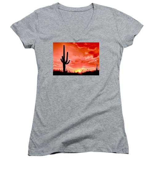 Sunrise Saguaro National Park Women's V-Neck