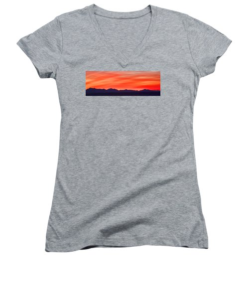 Women's V-Neck T-Shirt (Junior Cut) featuring the photograph Sunset Algodones Dunes by Hugh Smith