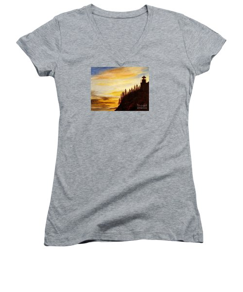 Women's V-Neck T-Shirt (Junior Cut) featuring the painting Sunset At Bass Harbor by Lee Piper