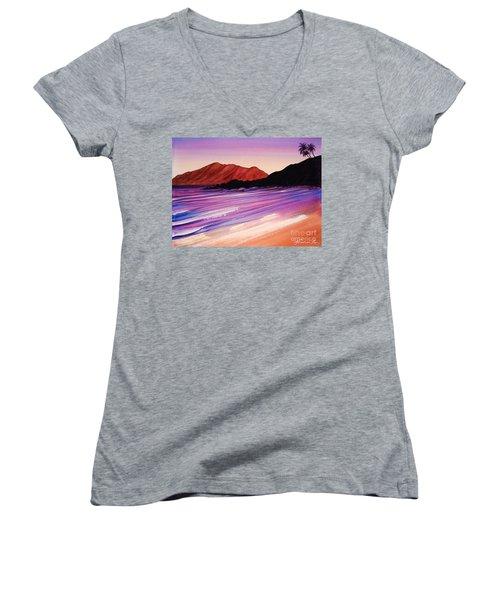 Sunset At Black Rock Maui Women's V-Neck T-Shirt