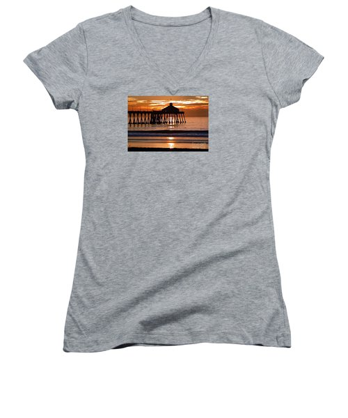 Sunset At Ib Pier Women's V-Neck (Athletic Fit)
