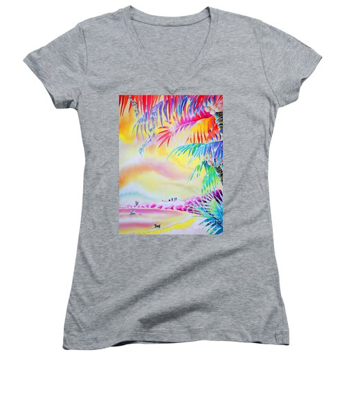 Sunset At Kuto Beach Women's V-Neck