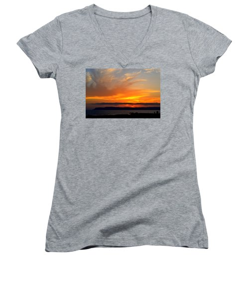 Sunset At Point Loma From Coronado California Women's V-Neck T-Shirt