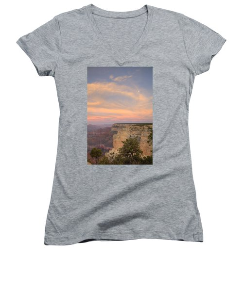 Women's V-Neck T-Shirt (Junior Cut) featuring the photograph Sunset At Powell Point by Alan Vance Ley