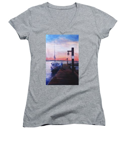 Sunset At Rocky Point Women's V-Neck (Athletic Fit)