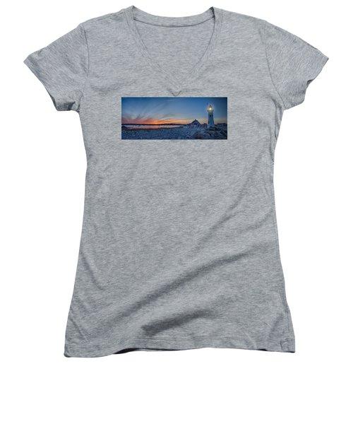 Sunset At Scituate Light Women's V-Neck T-Shirt