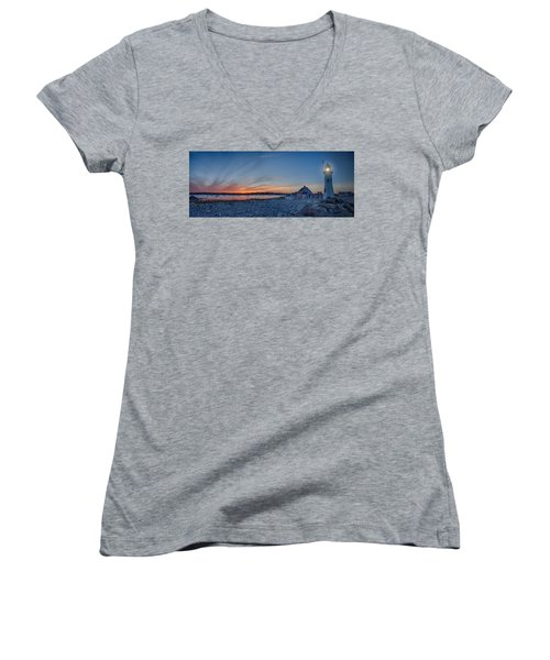 Sunset At Scituate Light Women's V-Neck T-Shirt (Junior Cut) by Jeff Folger
