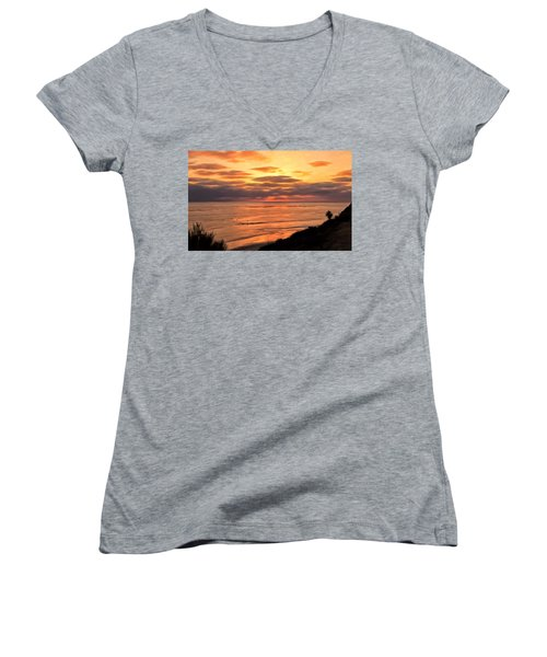 Women's V-Neck T-Shirt (Junior Cut) featuring the painting Sunset At Swami's Encinitas by Michael Pickett