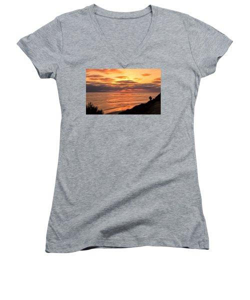 Sunset At Swami's Encinitas Women's V-Neck T-Shirt (Junior Cut) by Michael Pickett