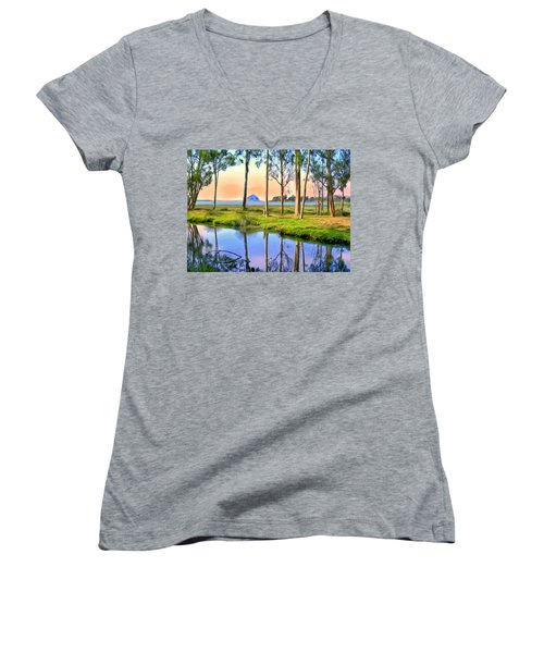 Sunset At Sweet Springs Women's V-Neck