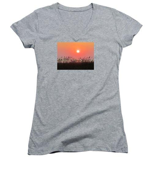 Women's V-Neck T-Shirt (Junior Cut) featuring the photograph Sunset At The Beach by Cynthia Guinn