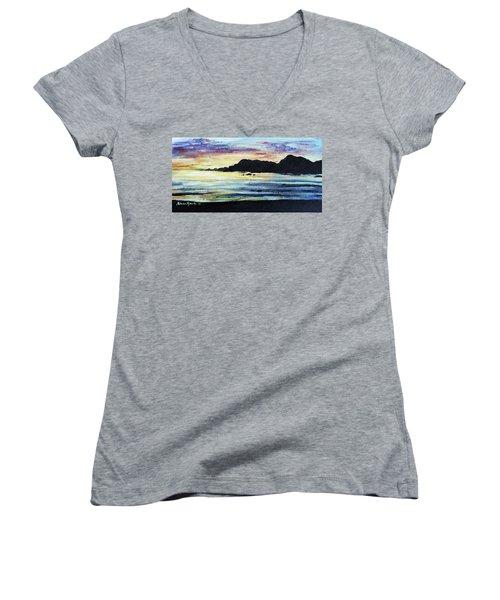 Women's V-Neck T-Shirt (Junior Cut) featuring the painting Sunset Beach by Shana Rowe Jackson