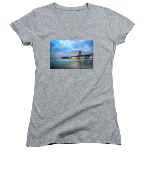 Sunset Beneath The Pier Women's V-Neck (Athletic Fit)