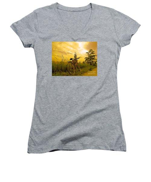 Sunset Biking Women's V-Neck T-Shirt (Junior Cut) by Nina Silver