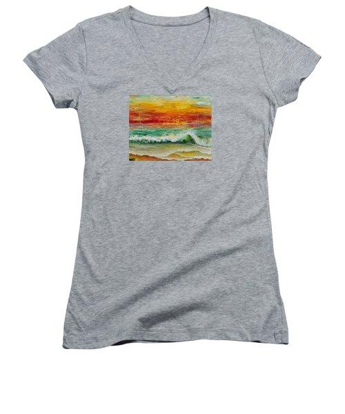 Sunset Breeze Women's V-Neck T-Shirt (Junior Cut) by Teresa Wegrzyn