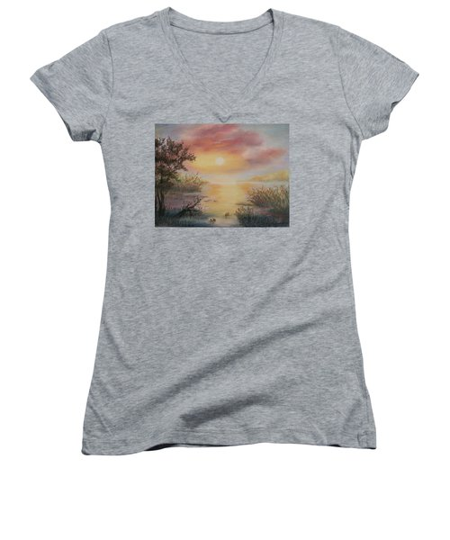 Sunset By The Lake Women's V-Neck (Athletic Fit)