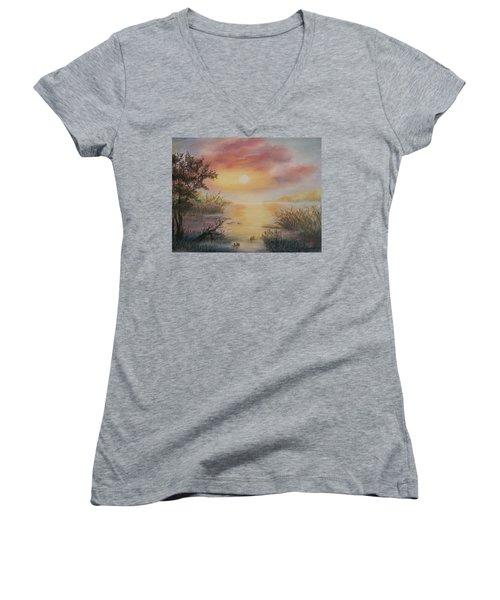 Sunset By The Lake Women's V-Neck