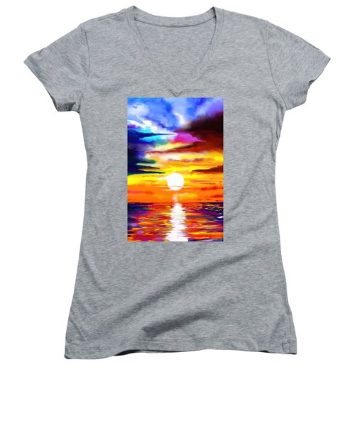 Sunset Explosion Women's V-Neck (Athletic Fit)