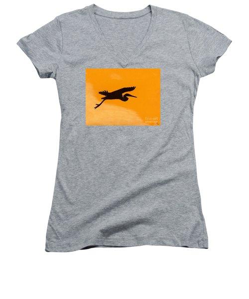 Women's V-Neck T-Shirt (Junior Cut) featuring the drawing Sunset Flight by D Hackett