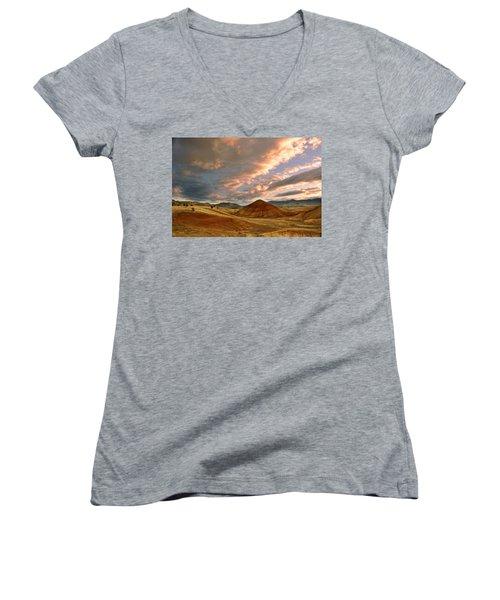 Women's V-Neck T-Shirt (Junior Cut) featuring the photograph Sunset Hill by Sonya Lang