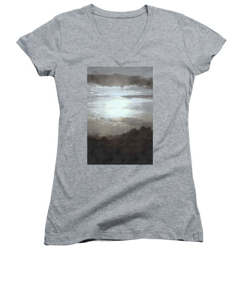 Women's V-Neck T-Shirt (Junior Cut) featuring the photograph Sunset Impressions Over The Blue Ridge Mountains by Photographic Arts And Design Studio