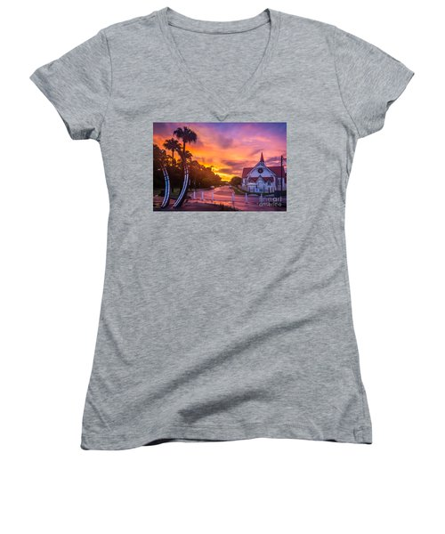 Women's V-Neck T-Shirt (Junior Cut) featuring the photograph Sunset In Sandgate by Peta Thames