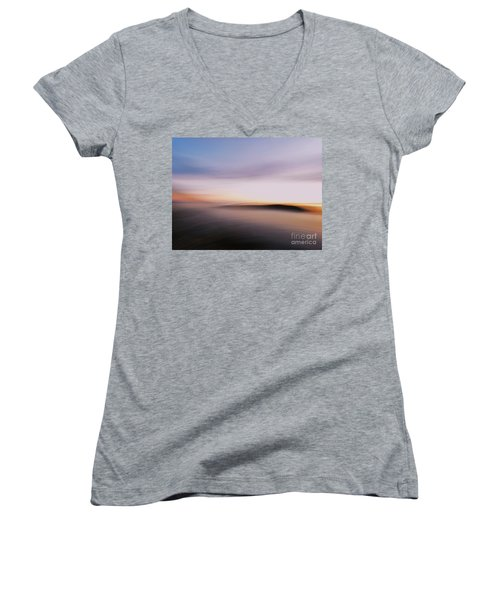 Sunset Island Dreaming Women's V-Neck T-Shirt (Junior Cut) by Andy Prendy