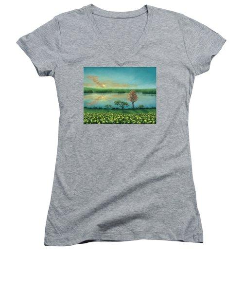 Sunset Lake B Women's V-Neck T-Shirt
