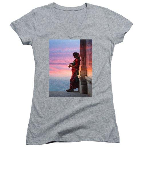 Sunset Lake Colorful Woman Rajasthani Udaipur India Women's V-Neck T-Shirt