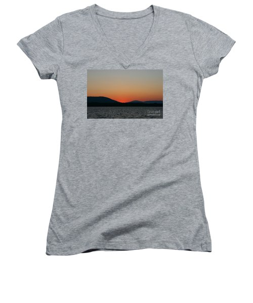 Sunset Lines Of Lake Umbagog  Women's V-Neck T-Shirt