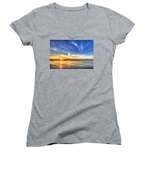 Sunset Mackinac Bridge Women's V-Neck (Athletic Fit)