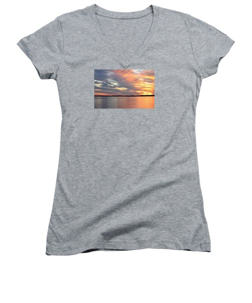 Sunset Magic Women's V-Neck T-Shirt (Junior Cut) by Cynthia Guinn