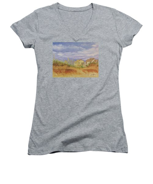 Sunset Nantucket Beach Women's V-Neck T-Shirt (Junior Cut)