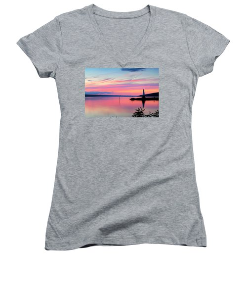 Sunset On Cayuga Lake Ithaca New York Women's V-Neck T-Shirt (Junior Cut) by Paul Ge