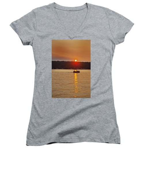 Boating Into The Sunset Women's V-Neck T-Shirt