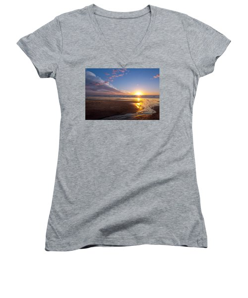 Sunset On The Beach At Carlsbad. Women's V-Neck T-Shirt (Junior Cut) by Melinda Fawver