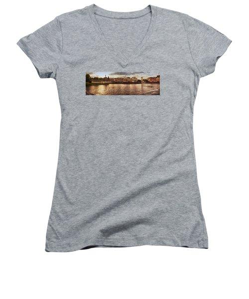Sunset On The Boardwalk Walt Disney World Women's V-Neck T-Shirt (Junior Cut) by Thomas Woolworth