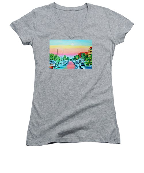 Sunset On The Canal Women's V-Neck (Athletic Fit)