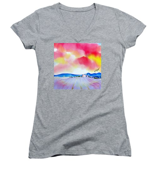 Sunset On The Lavender Farm  Women's V-Neck