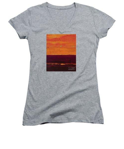 Sunset On The Pier Women's V-Neck T-Shirt (Junior Cut) by Gail Kent
