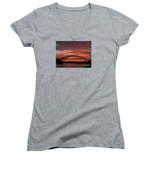 Sunset On The Piscataqua         Women's V-Neck (Athletic Fit)