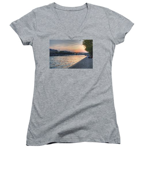 Sunset On The Seine Women's V-Neck T-Shirt (Junior Cut) by Jennifer Ancker