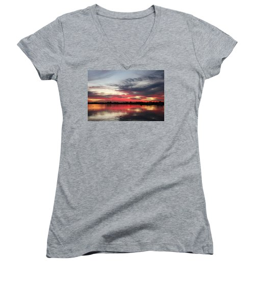 Sunset Over Mission Bay  Women's V-Neck