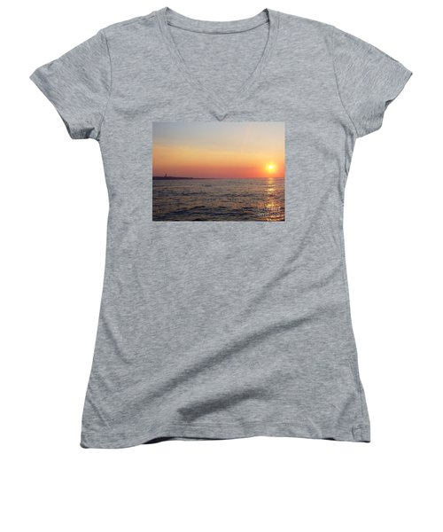 Sunset Over Montauk Women's V-Neck (Athletic Fit)