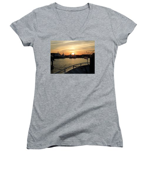 Women's V-Neck T-Shirt (Junior Cut) featuring the photograph Sunset Over The Marina by Ron Davidson