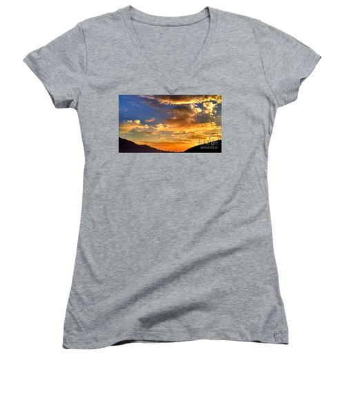 Women's V-Neck T-Shirt (Junior Cut) featuring the photograph Sunset Over The Pass by Chris Tarpening