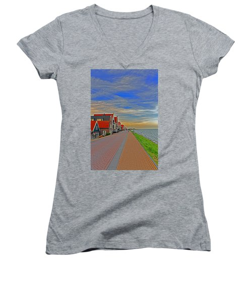 Sunset Over Volendam Women's V-Neck T-Shirt